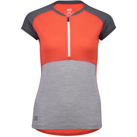 Mons Royale Bella Tech Zip Tee Dame poppy/charcoal/grey marl